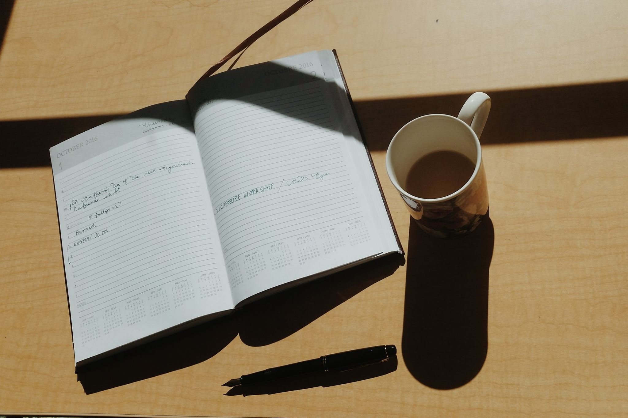 Planner and coffee