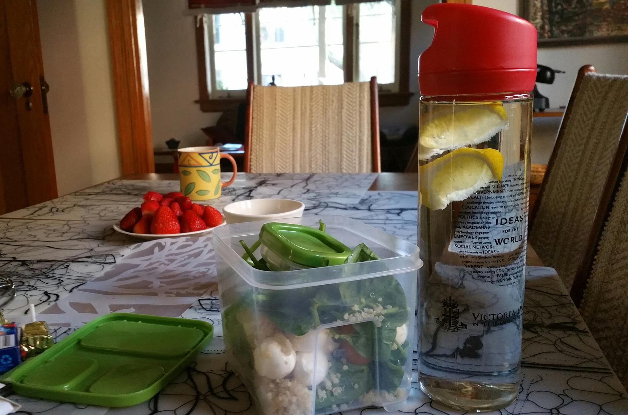 Salad in Tupperware with water bottle and lemon slices