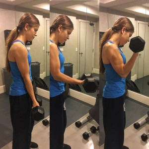Annette is shown in 3 stages of a bicep curl.