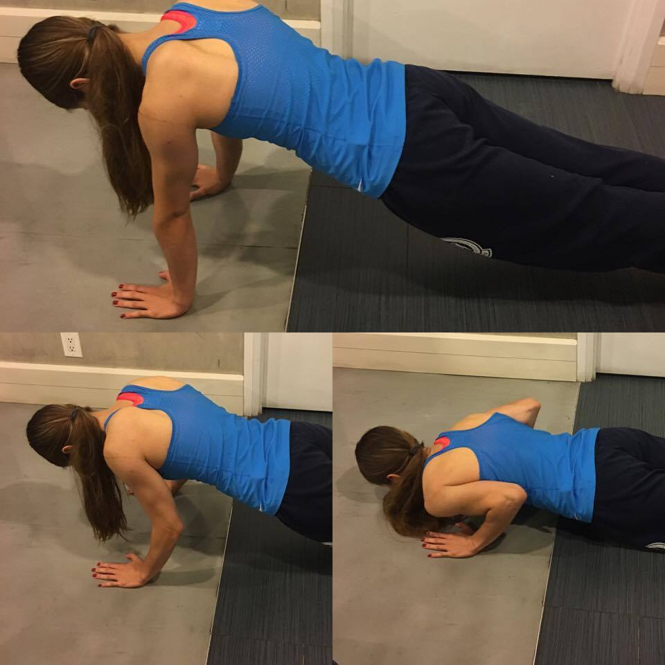 Annette is shown in 3 stages of a pushup.
