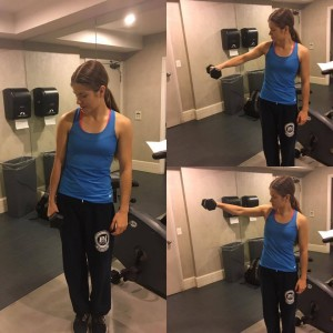 Annette is shown demonstrating three stages of a side lateral raise.