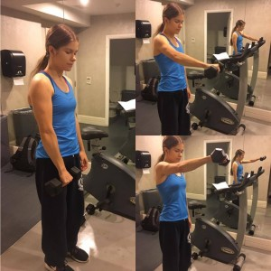 Annette is shown demonstrating three phases of a front lateral raise with a dumbbell.