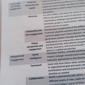 A list of different skills, like Community and Global Engagement and Interpersonal Engagement