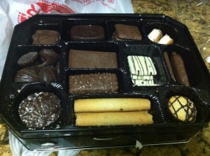 a box of assorted cookies