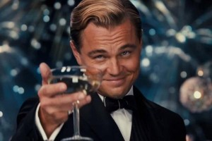 Picture of Leonardo Dicaprio holding up a wine glass