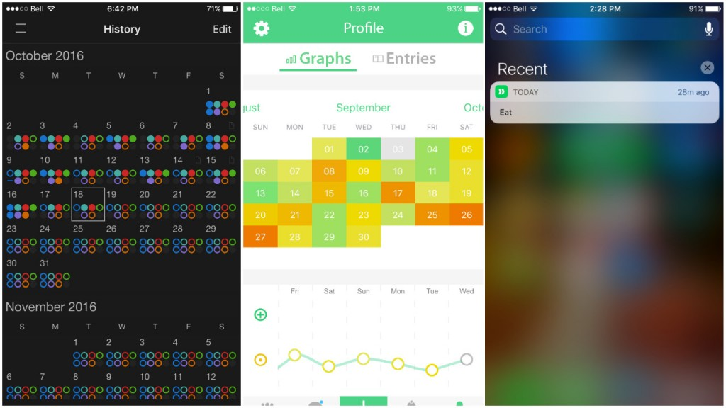 Various phone apps: calendars, mood tracker, reminders