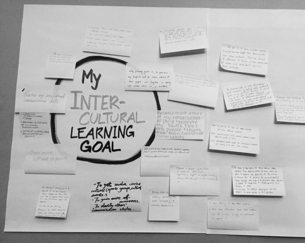 "Brainstorm map of ""My Intercultural Learning Goal"". Various answers are written on post-it notes."