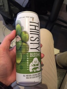 "ALT=""A photo of a Thirsty Buddha coconut water can"""