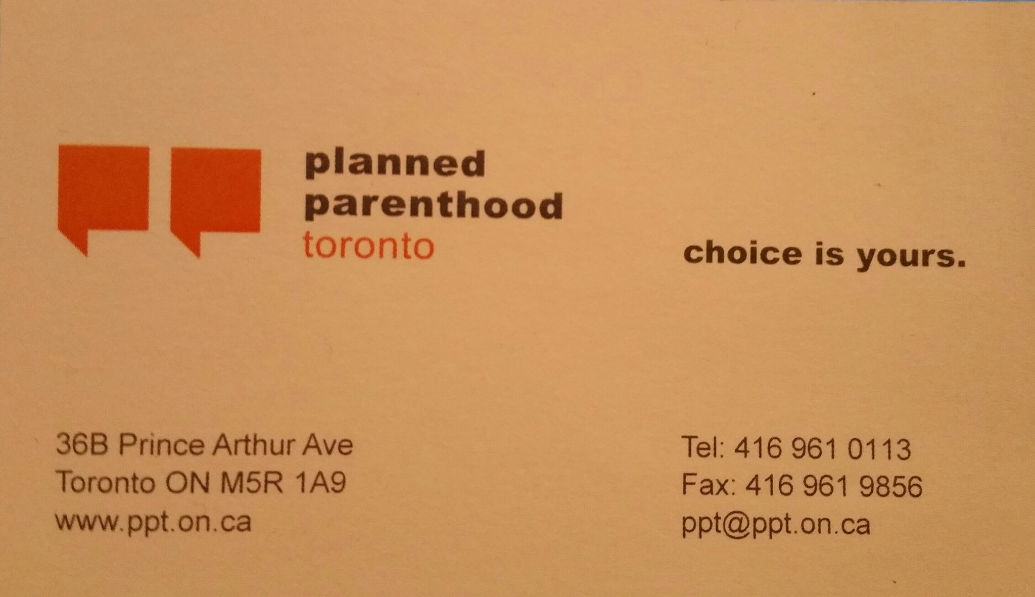 Planned Parenthood business card
