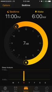 screenshot of the Bedtime app in the new iOS showing that I get 7 hrs of sleep