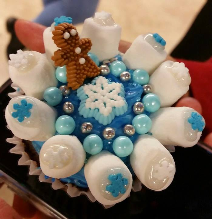 Blue decorated cupcake