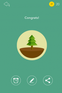 "A picture of a pine tree and text that says ""Congrats!"""