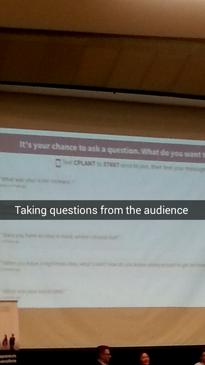 A picture of a screen asking for audience participation