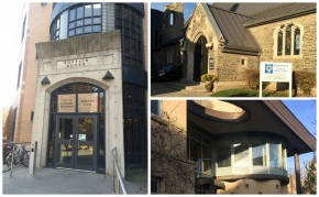 """left: Koffler House/Multi-Faith Centre, top right: Newman Centre/St. Thomas Aquinas, bottom right: Wolfond Centre"""