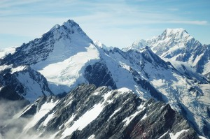A professional photo of snowy mountains