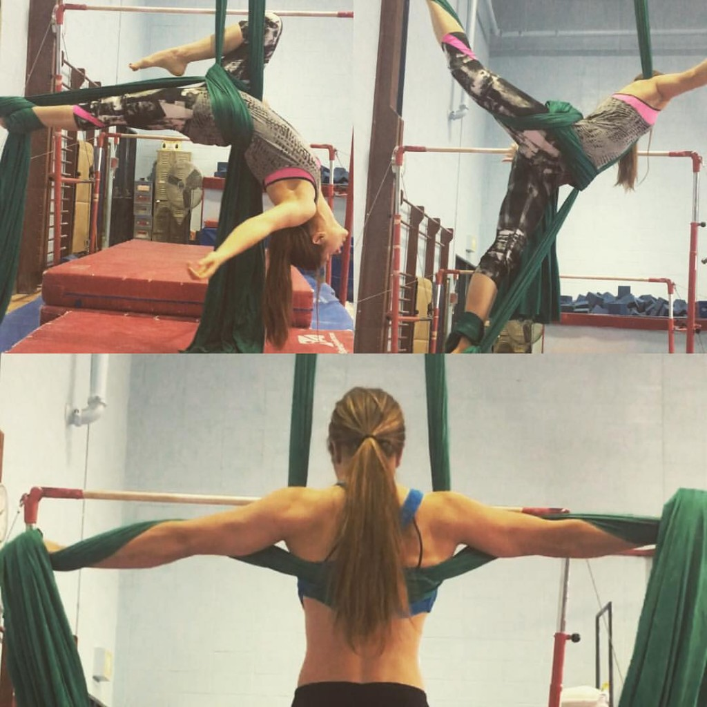 Annette is shown in three poses on aerial silks.