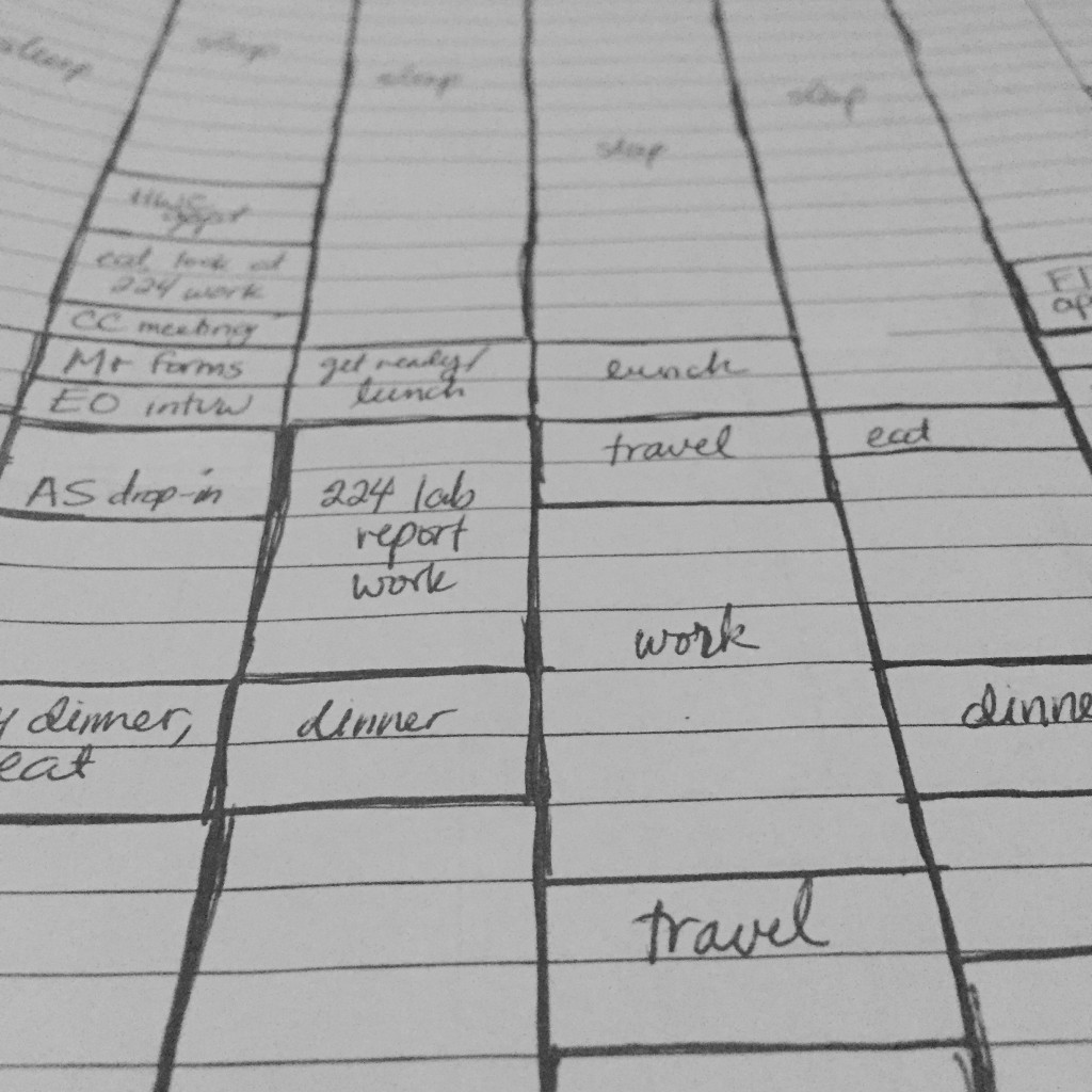 Handwritten schedule