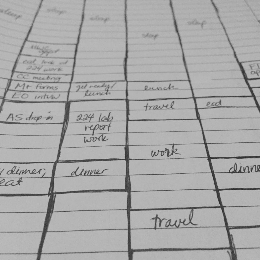 Handwritten schedule