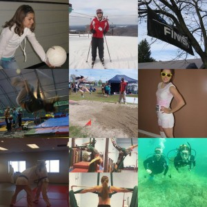 A collage of a variety of sports Annette has enjoyed over the years.