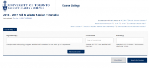 Screenshot of U of T Timetable website