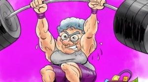 A cartoon of an elderly woman lifting heavy weights above her head.