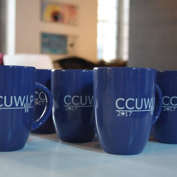 blue conference mugs
