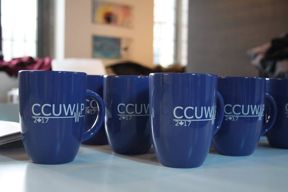 blue conference mugs