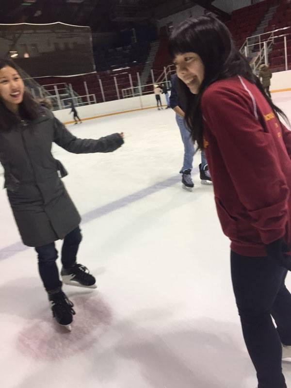 People skating at Varsity Arena