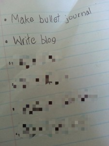 "Picture of page of bullet journal that has two points: ""make bullet journal"" and ""write blog"""