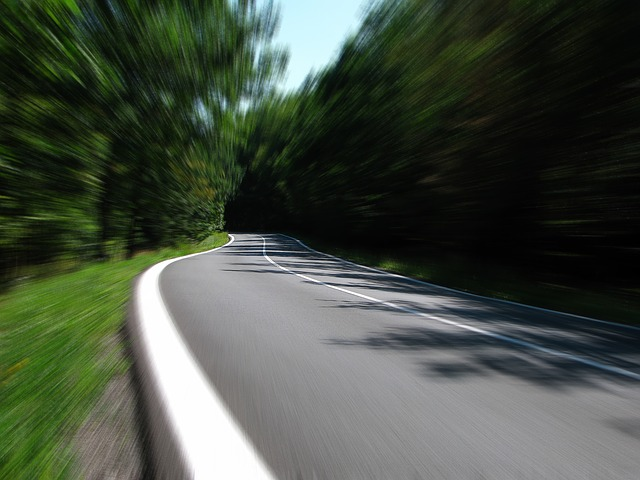 Motion-blurred road