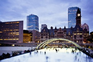 Nathan Philips Square skating rink in the evening.