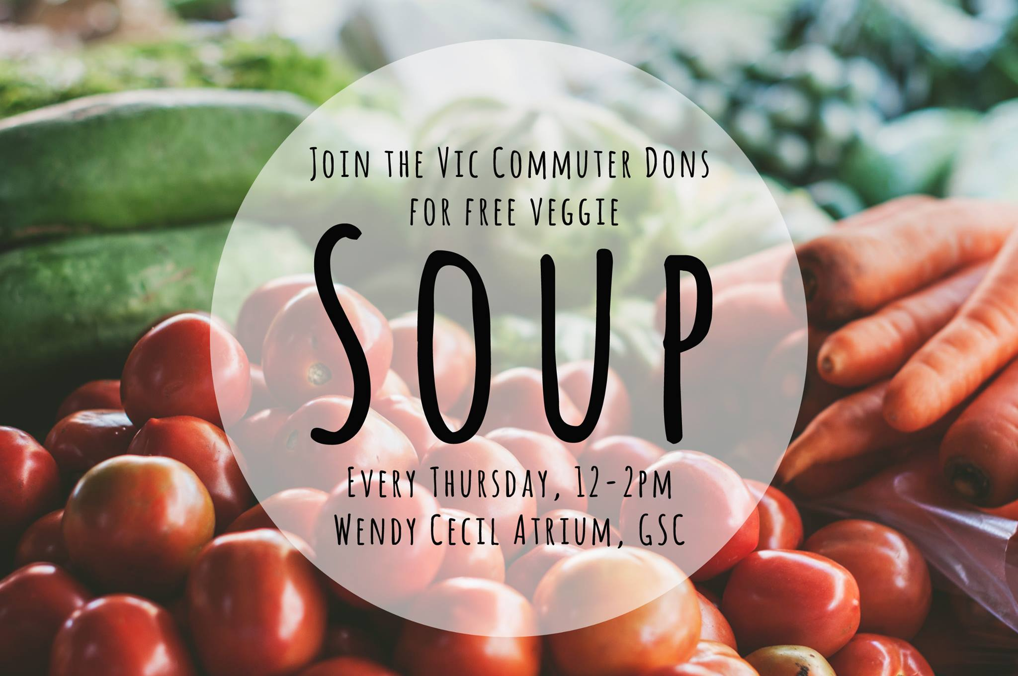 Poster for free veggie soup with the Commuter Dons