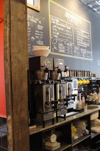 A picture of the counter at Jimmys Coffee