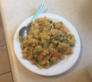 A picture of stir fry cauliflower rice with tofu
