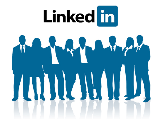 Picture on linkedin logo with people in front of it