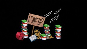 "A cartoon of blogger Jasper lying on his stomach amidst stacks of books with a large wooden sign that reads, ""I Give Up"" and three lightning bolts above him against a black background. A red backpack is leaning on the leftmost stack of books."