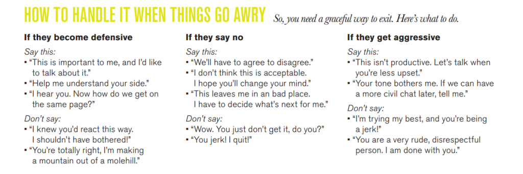 What happens when things get sticky during a confrontation? Click through for some tips from Unstuck.com.
