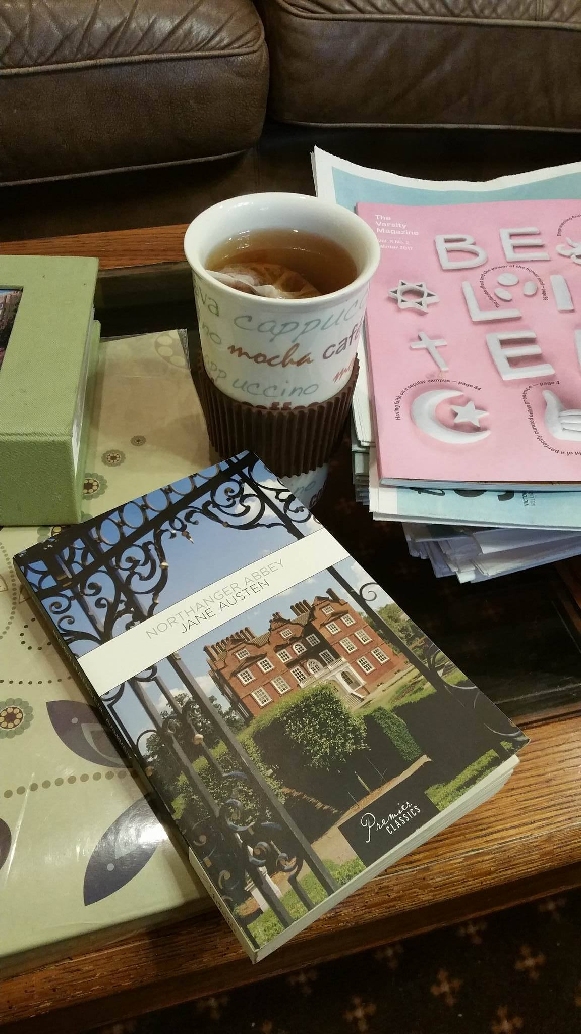 Northanger Abbey book on coffee table