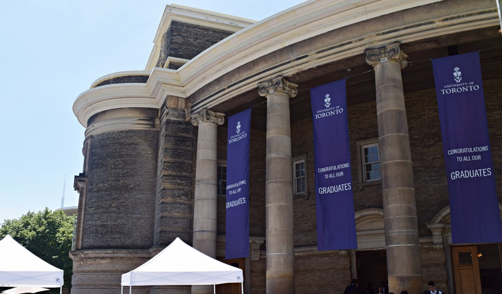 A picture of Con Hall with graduate posters