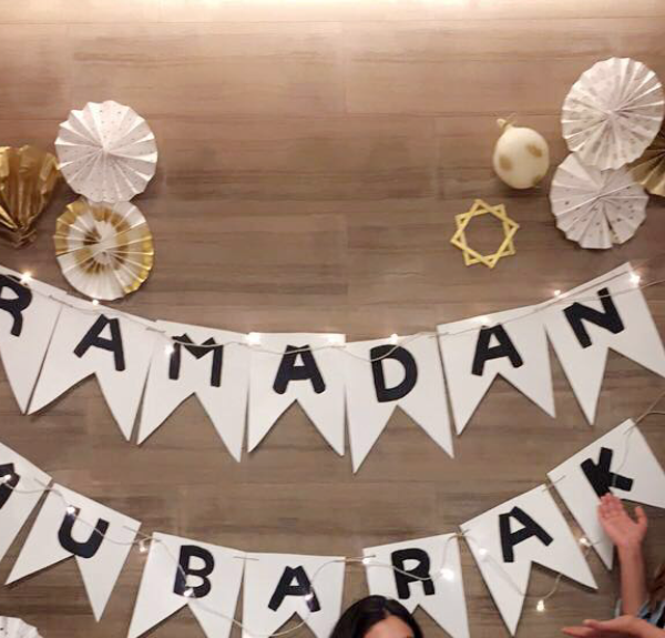 Ramadan Mubarak. A picture of the decor at a community Iftar.