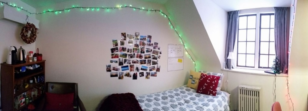 A dorm room at Trinity College.