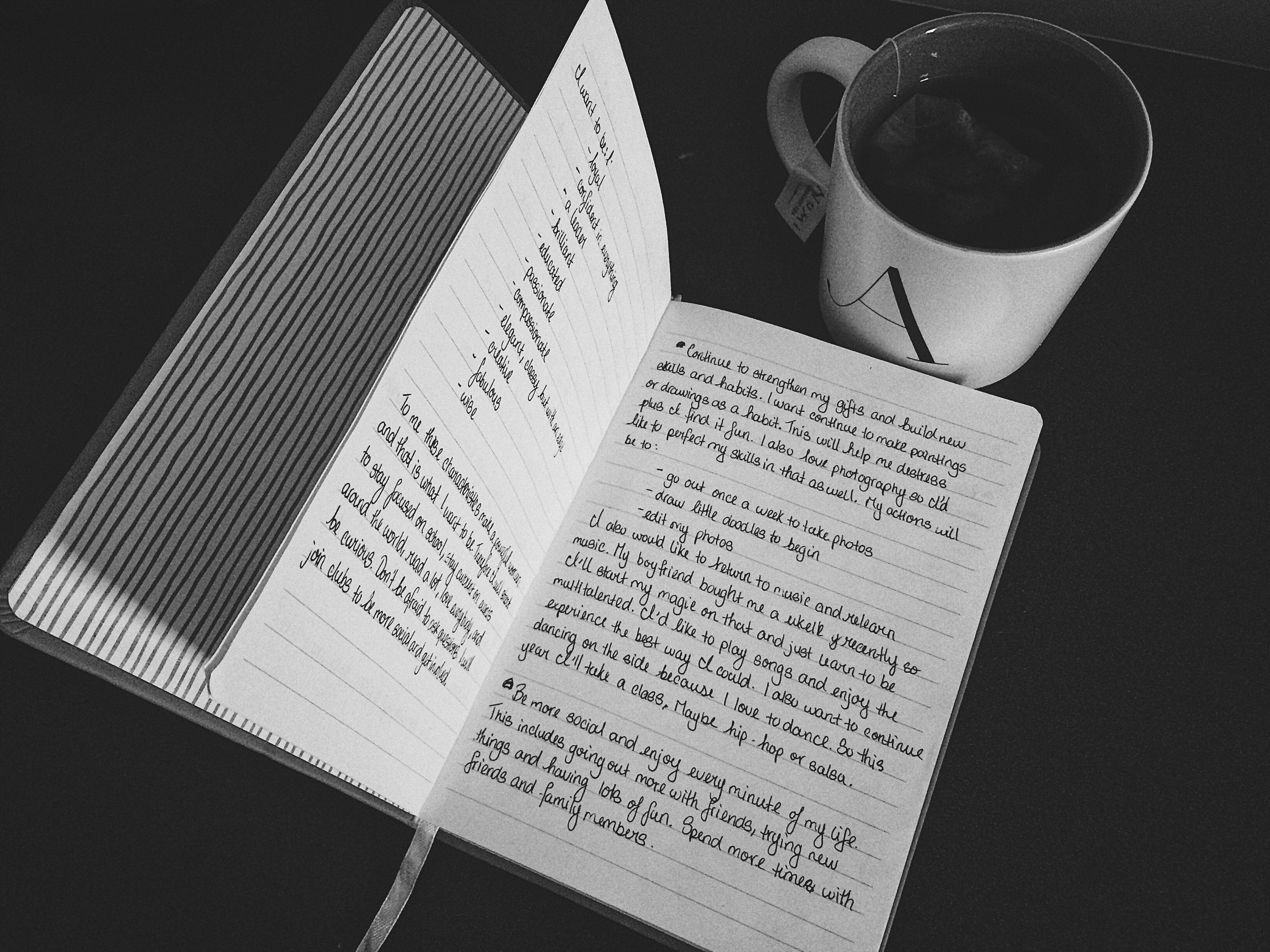 A picture of my journal and tea mug