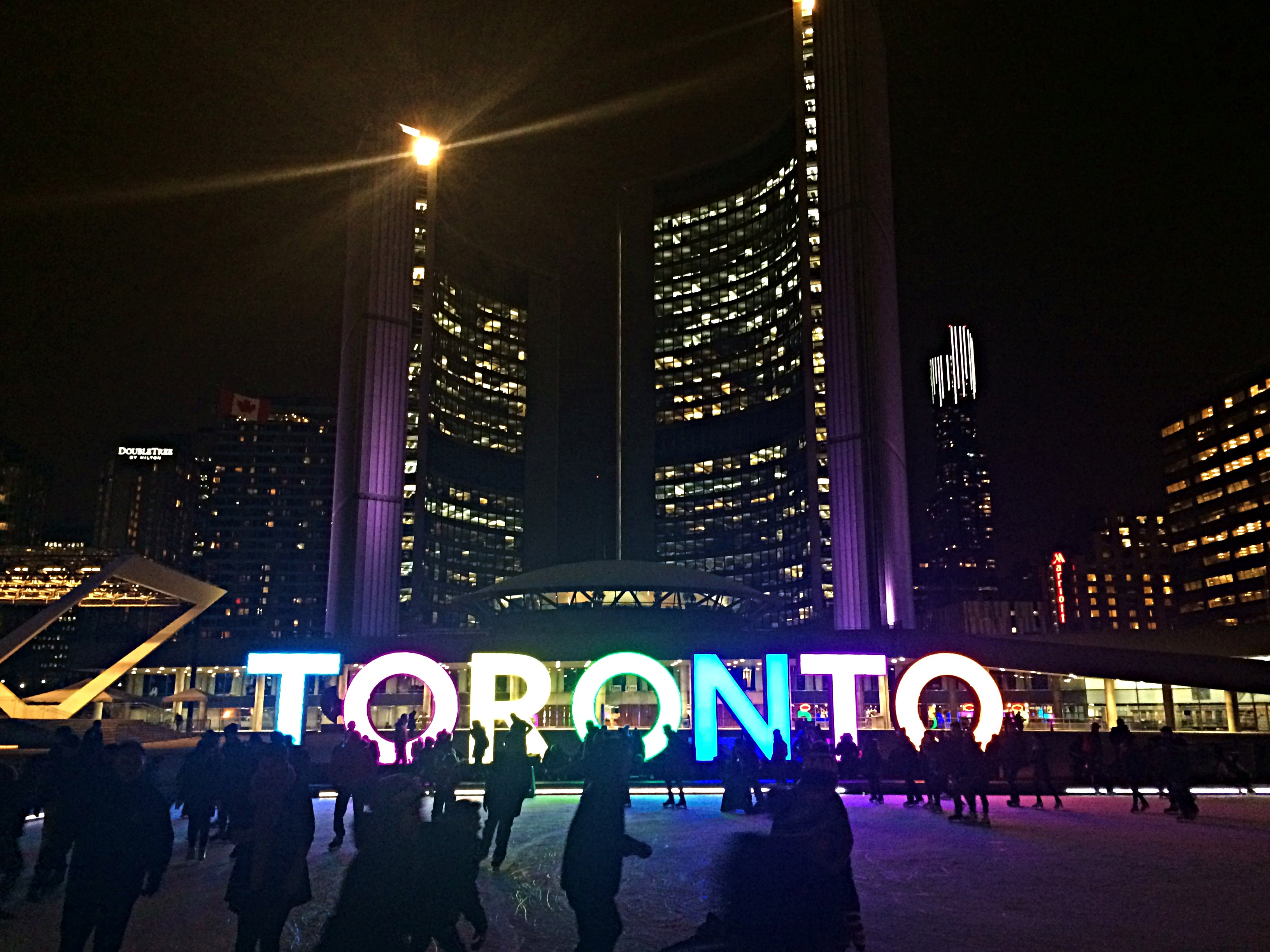 A picture of the Toronto sign in Nathan Philips Square