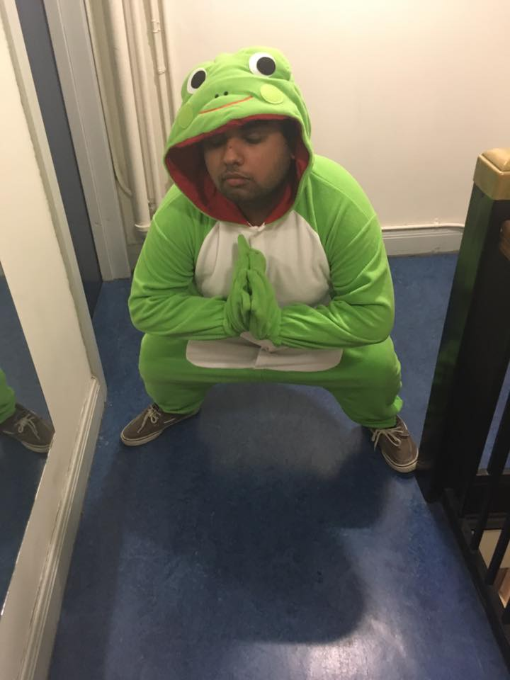 Picture of Avneet in a frog suit.