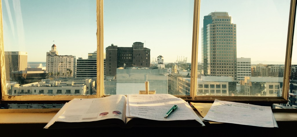Notes on top of an open textbook, in-front of a window.