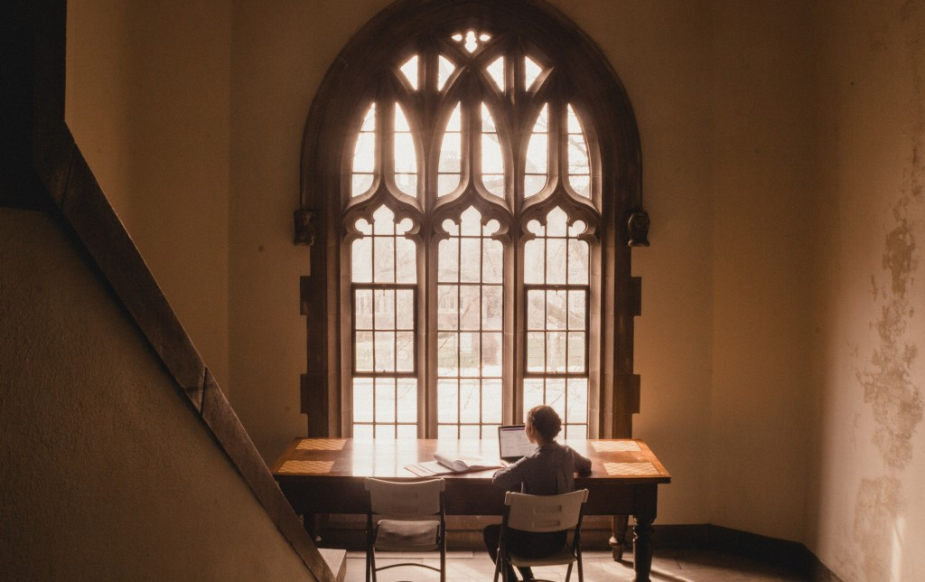 A perfect study nook inside of Emmanuel College. Unfortunately, setting up the tripod to take this photo did not make for a productive study session!