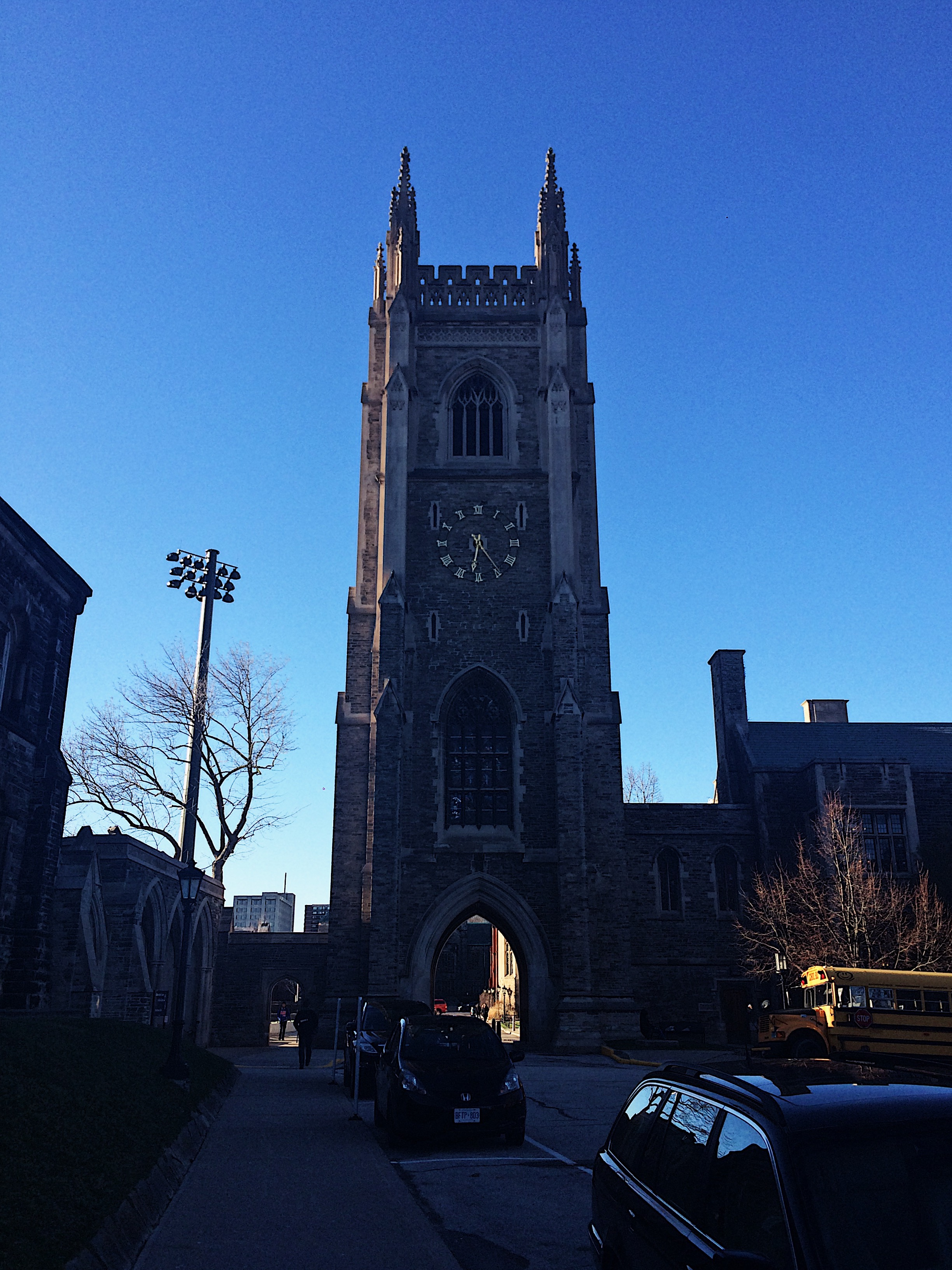 A photo of clock tower near Hart House