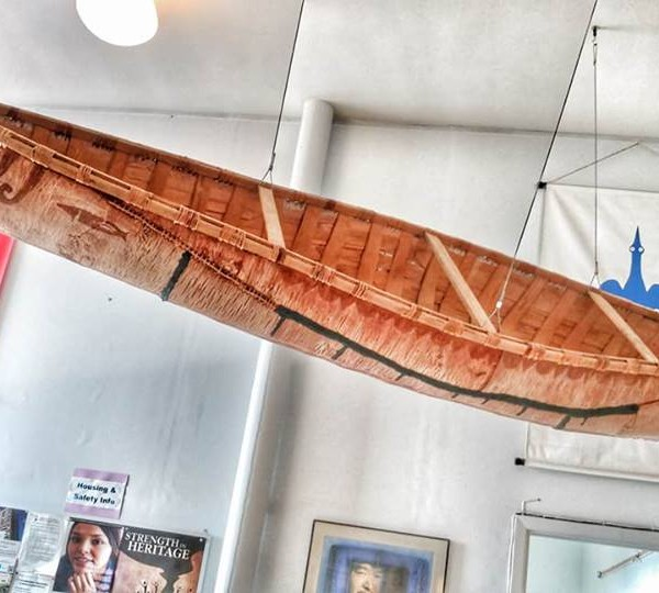 Birchbark canoe display at First Nations House