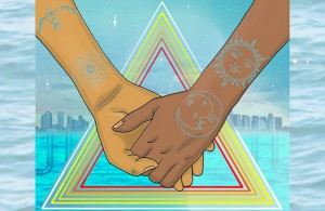 Water is life logo, holding hands across a body of water