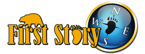 First Story Logo with compass and bear paw print